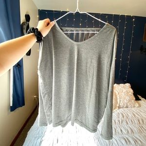 Gray Long-Sleeve Blouse